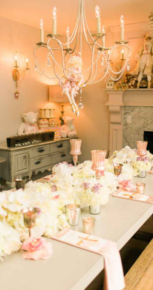 chandalier with brilliant tablescape