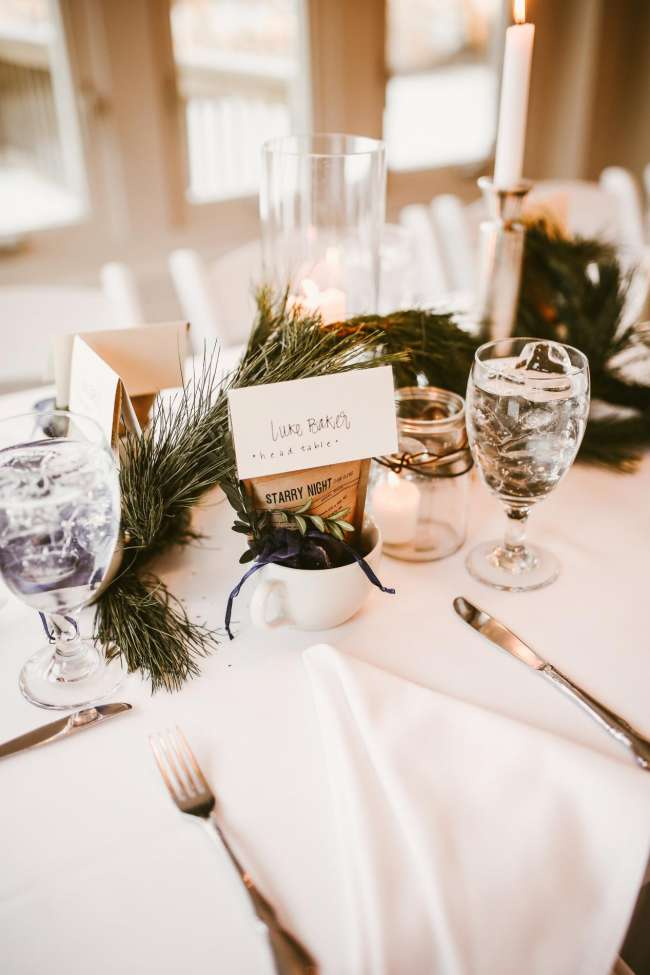 Winter Wedding Place Setting With Coffee Guest Favors Weddingday