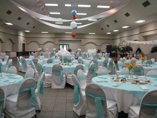 Turquoise, Orange & White Reception Tables