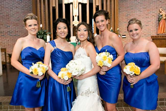 Bridesmaids in Various Styles of the Same Dress