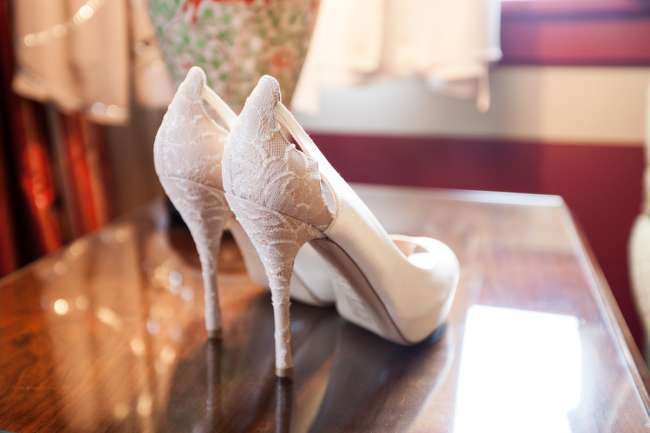 Lace & Satin Ivory Heels