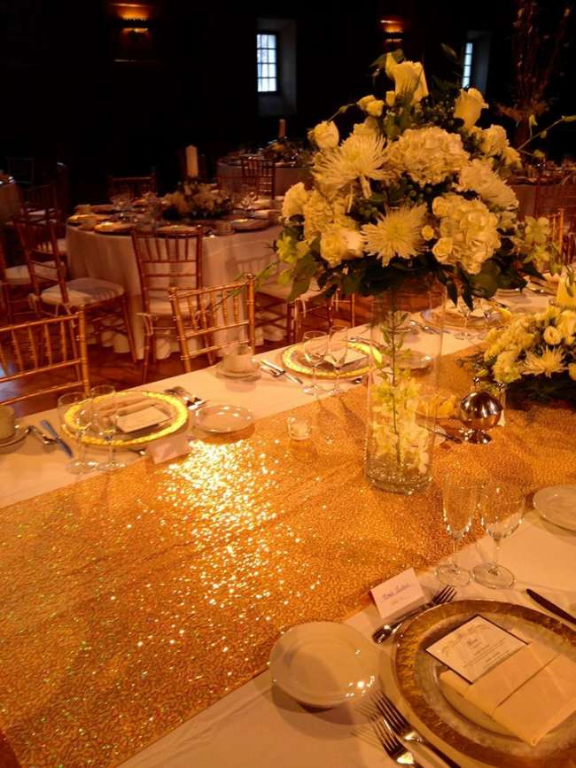 Tall Floral Centerpiece on Gold, Sequin Tablerunner