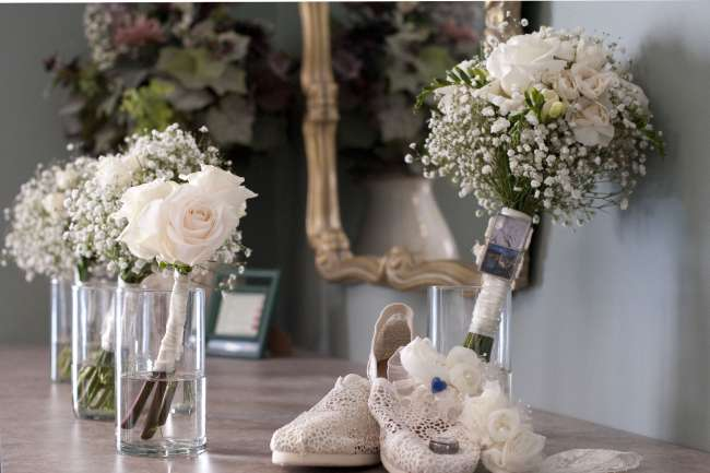 White Rose & Baby's Breath Bouquets
