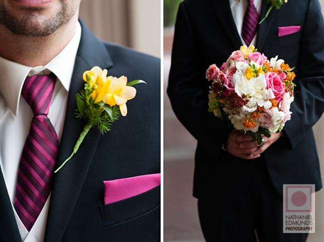 Groom with colorful flowers