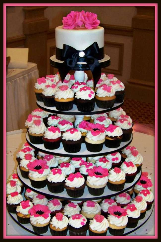 Pink and black cupcake tower