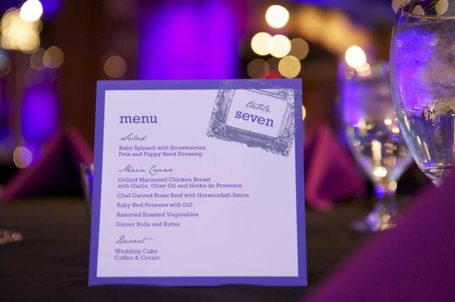 Purple and gray Menu Card and Table Number