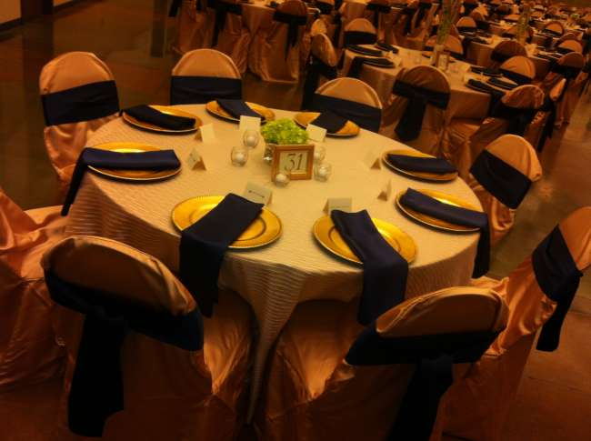Navy & Gold Reception Table