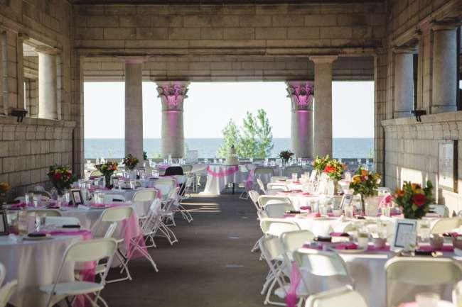 Pink White Reception At The Gary Aquatorium