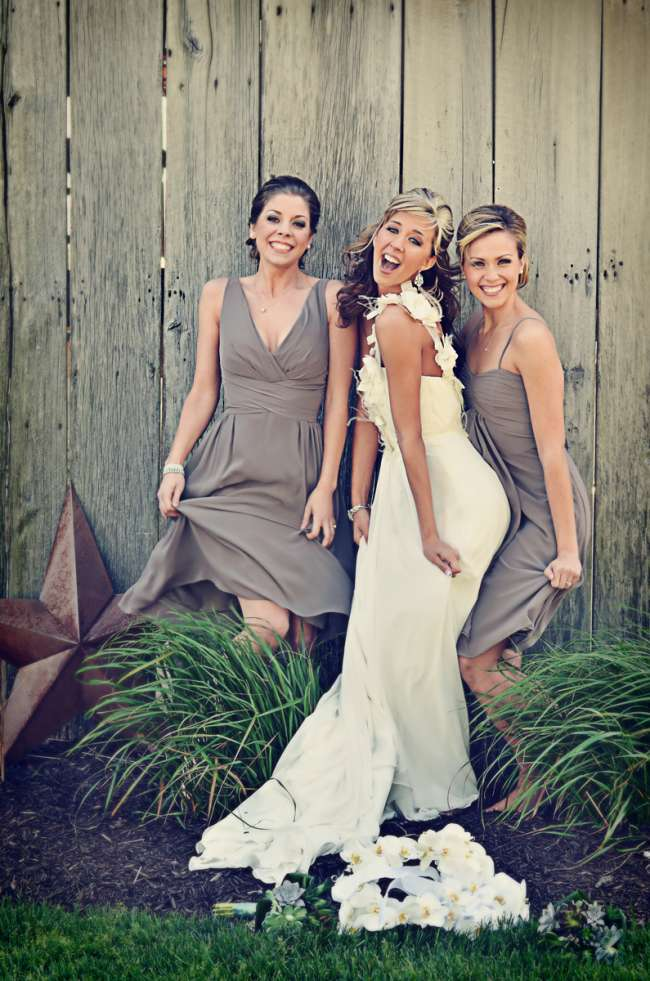 Bride & Two Bridesmaids Outdoors