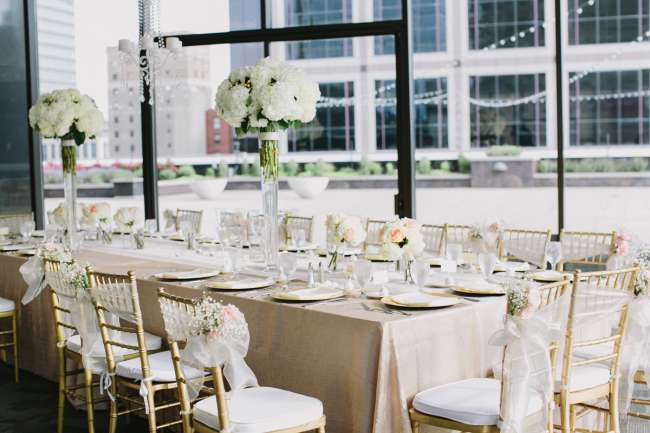 Stunning Gold, White & Blush Tablescape