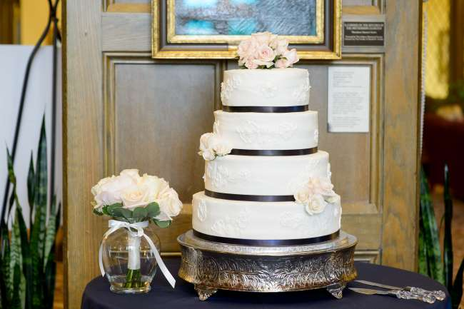 Classic White Cake with Blush Flowers