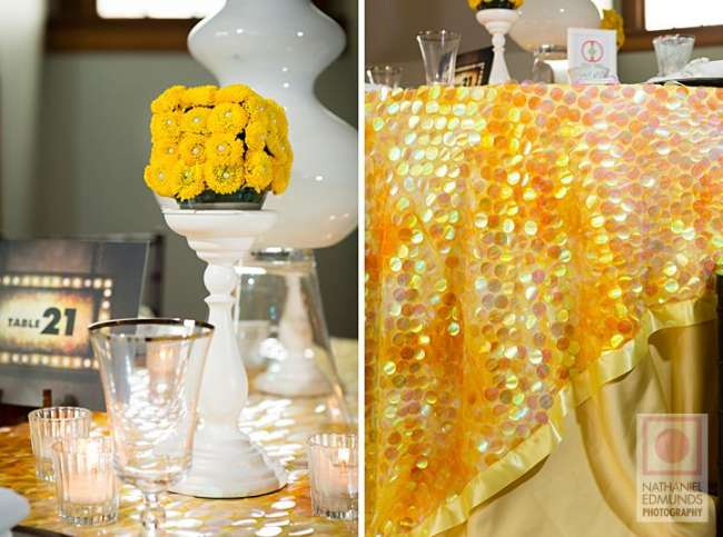 Pop of Yellow Centerpiece & Yellow Sequined Linen