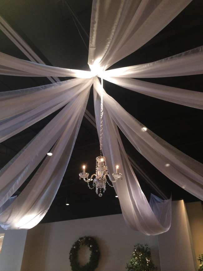 Draping Fabric & Hanging Chandelier