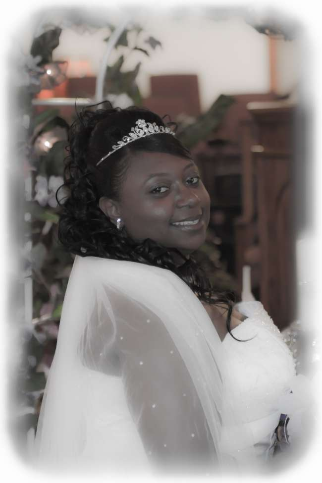 Bride Wearing a Tiara & Jeweled Veil