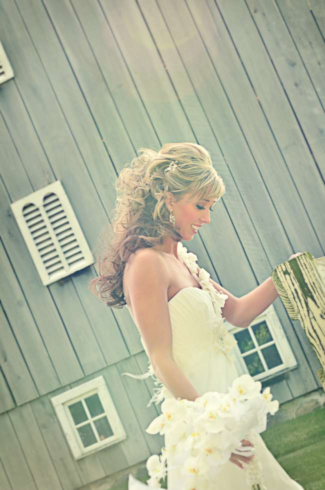 Relaxed Bride Carrying White Bouquet