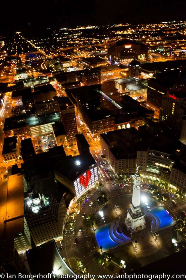 View of the Night Skyline from D'Amore Events of Indianapolis