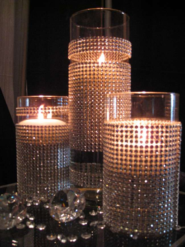 Rhinestone Candle Centerpieces