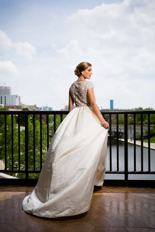 Bride Wearing Enaura Beaded Gown on Canal