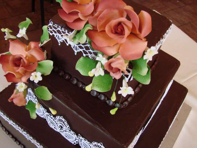 A Peachy, Lace, Chocolate Cake