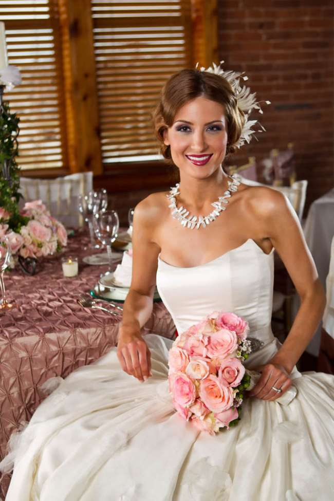 Bride Holding a Pink Bouquet
