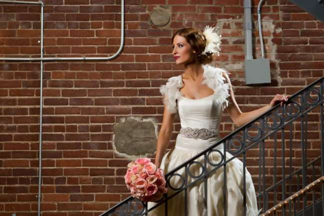 Bride in an industrial setting