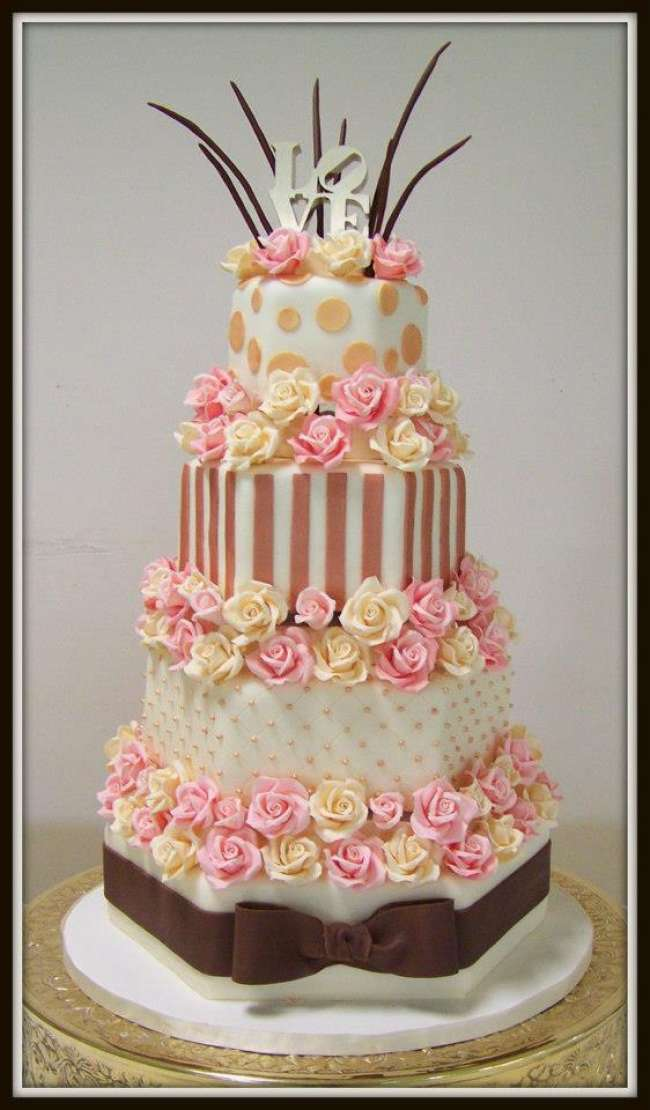 Wedding cake with stripes and polka dots