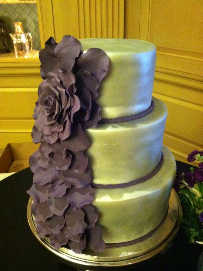 Silver & Purple Three-Tiered Cake