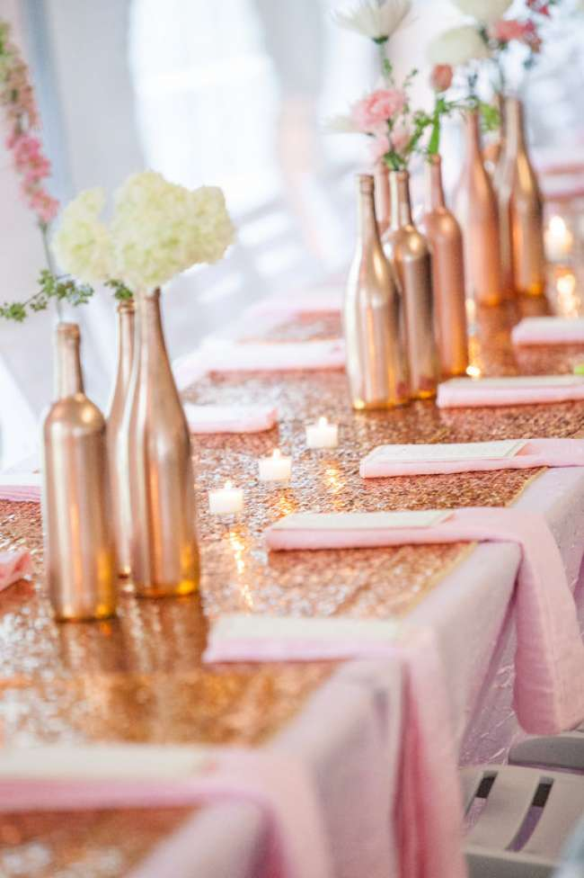 Gold and pink table decor weddingday magazine for Wedding table design tool