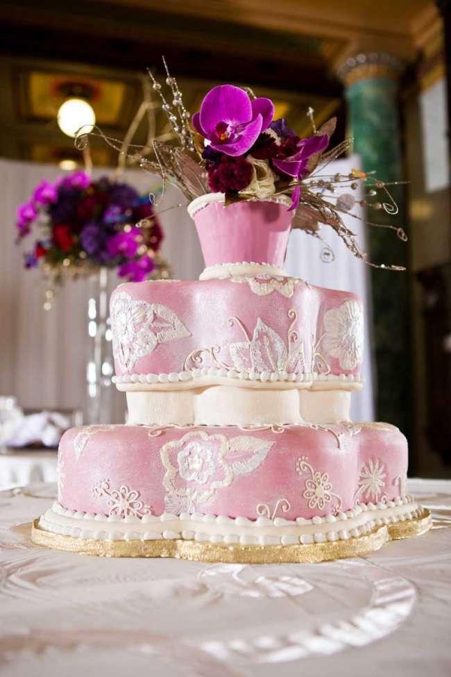 Whimsical Pink & Ivory Cake