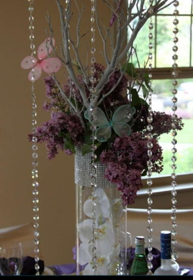 Floral & Crystal Centerpiece With Butterflies
