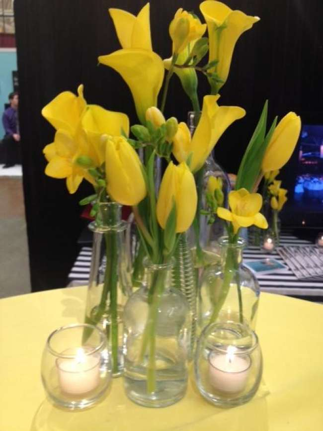 Yellow Tulip & Calla Lily Centerpieces