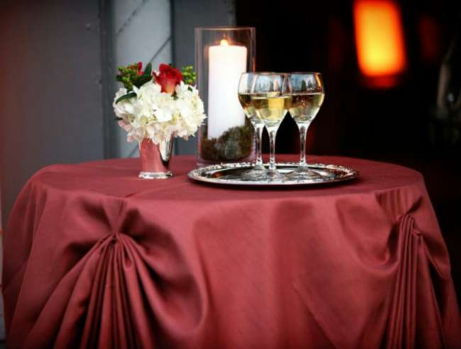 Champagne Table WIth Candle & Florals