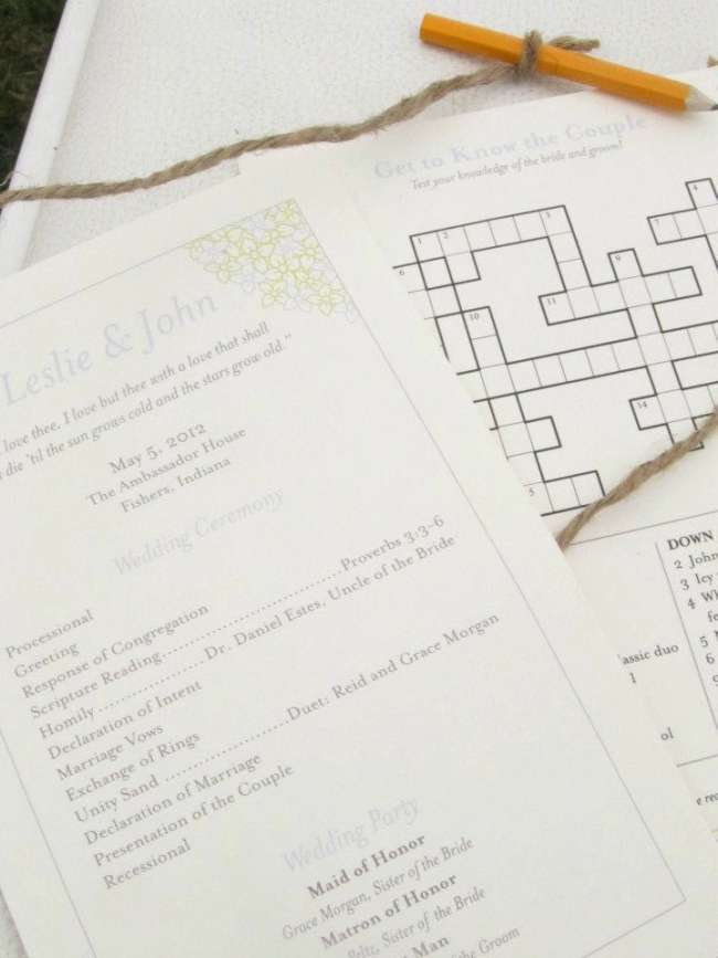 Wedding Program With Crossword Puzzle