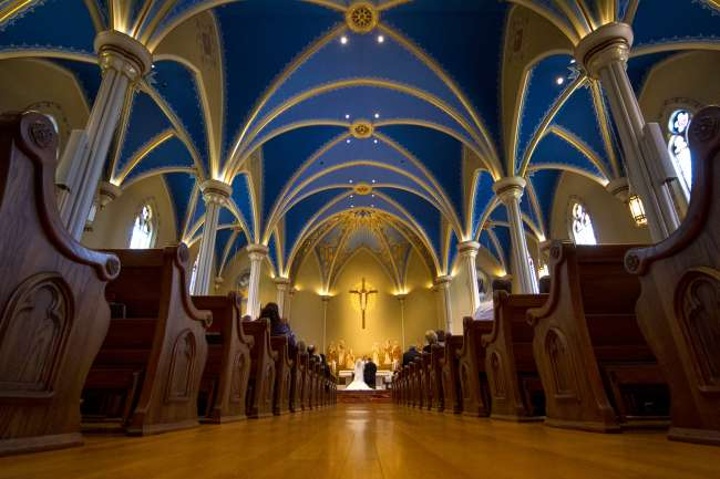 Stunning church with unique ceiling