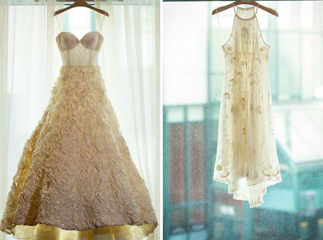 Two gowns, one wedding