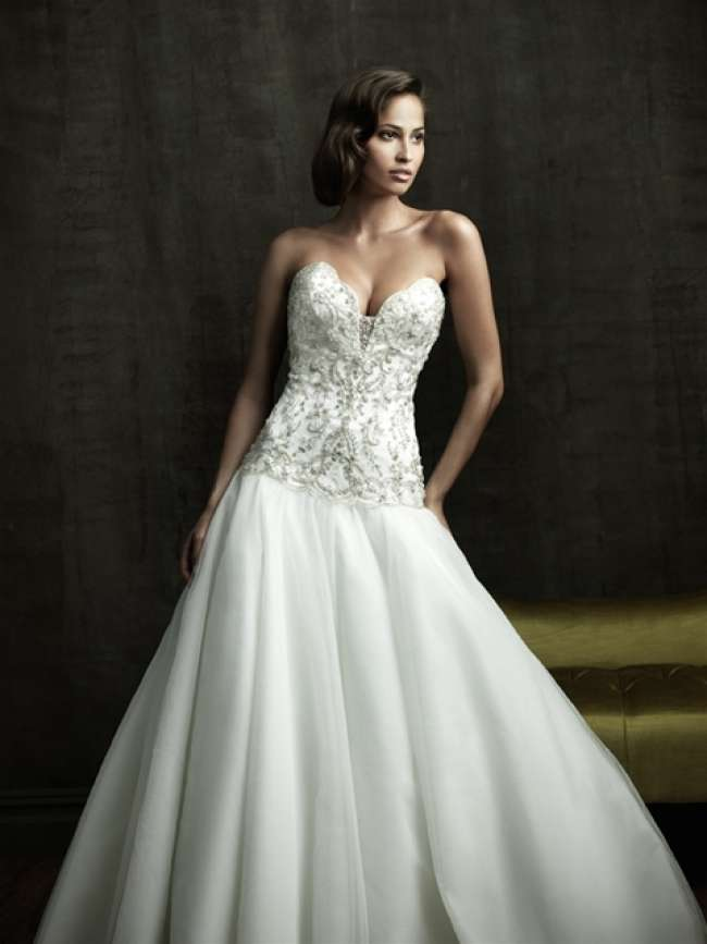 Wedding dress with beaded bodice