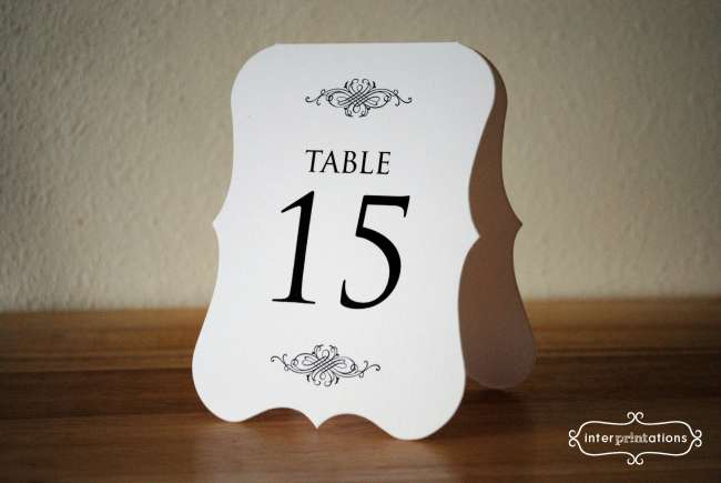 Damask Tri-Fold Table Number Card