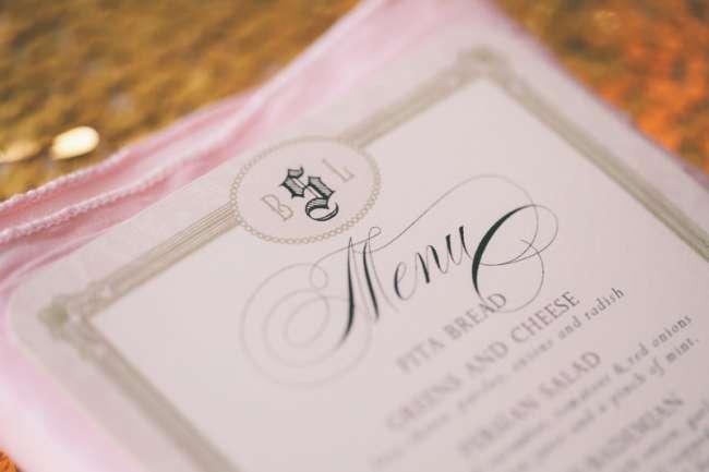 Elegant menu card for reception dinner