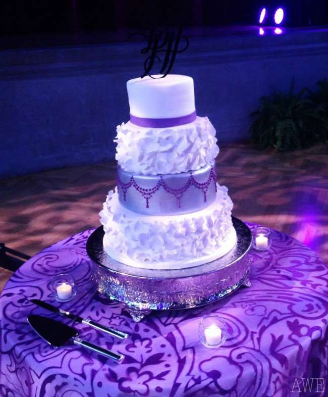 Unique White, Silver & Purple Cake