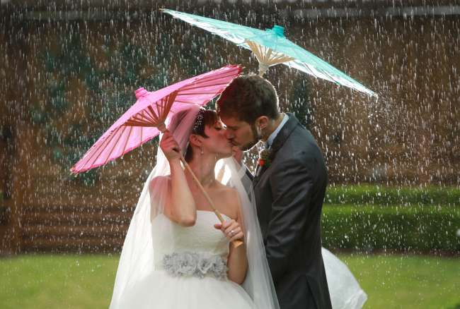 Bride & Groom Under Parasols in the Rain