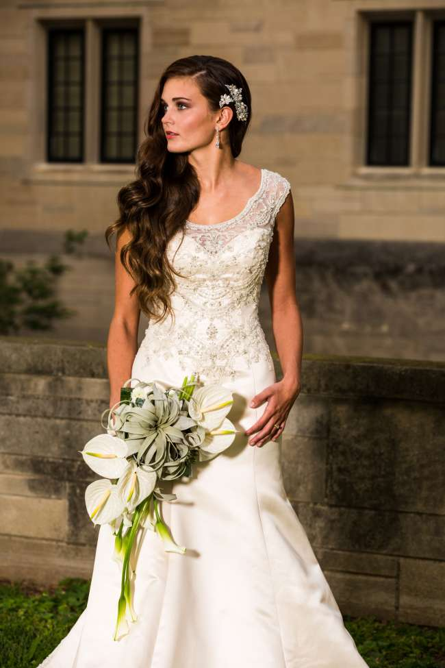 Bride in Lace & Satin Gown with Crystals