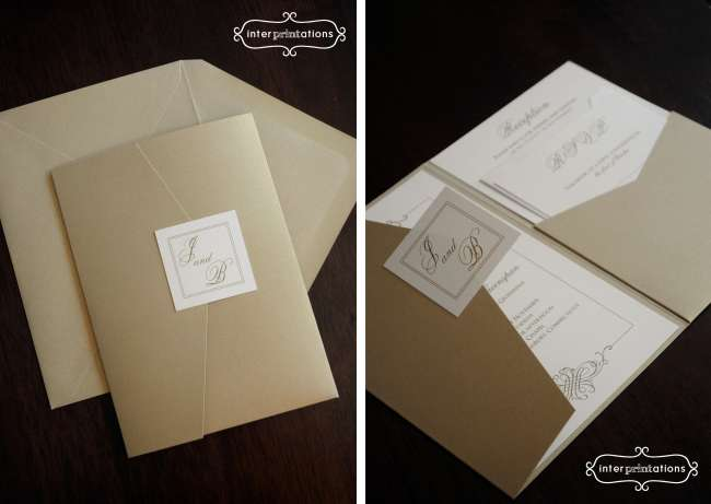 Gold Leaf Pocketfold Invitations