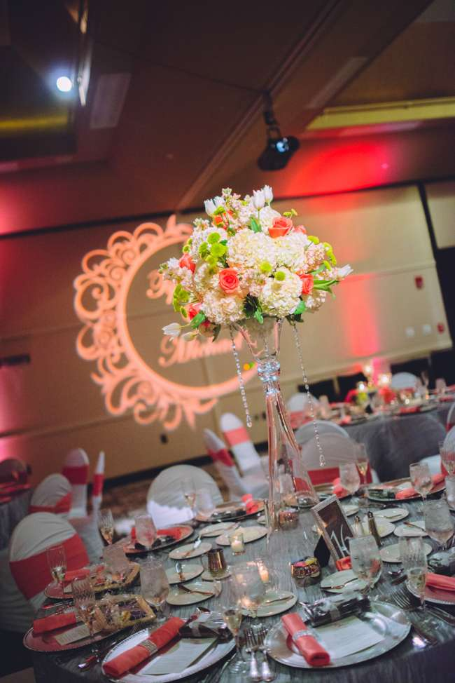 Tall, White & Coral Centerpiece