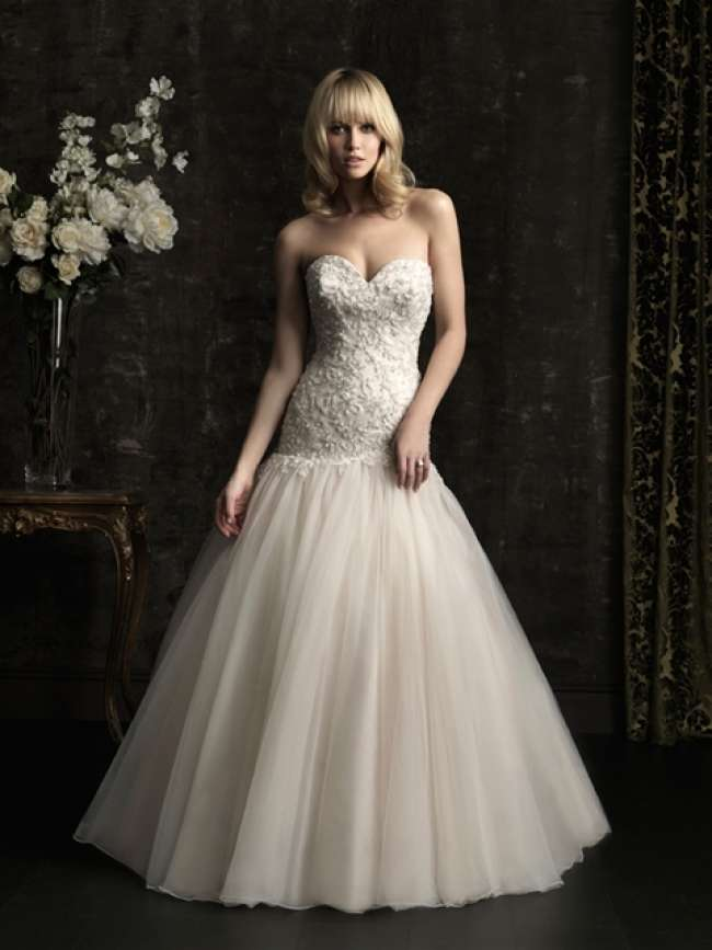 Strapless wedding dress with tulle skirt