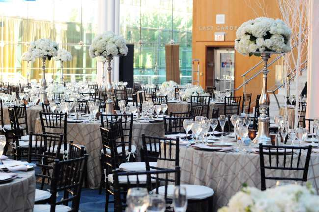 Elegant Silver & White Wedding Reception