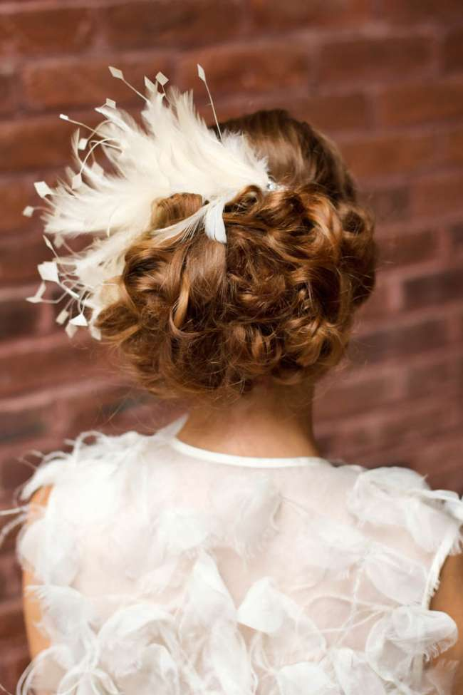 Updo with Feather Hairpiece