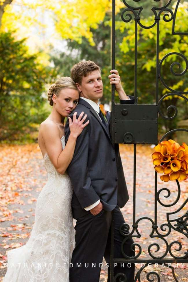 Autumn backdrop for wedding photos