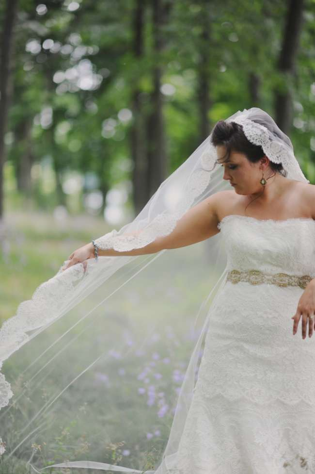 Bride With Vintage Veil & Strapless, Lace Dress