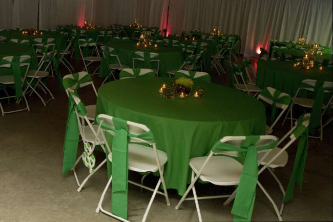 Green Linens on Reception Tables