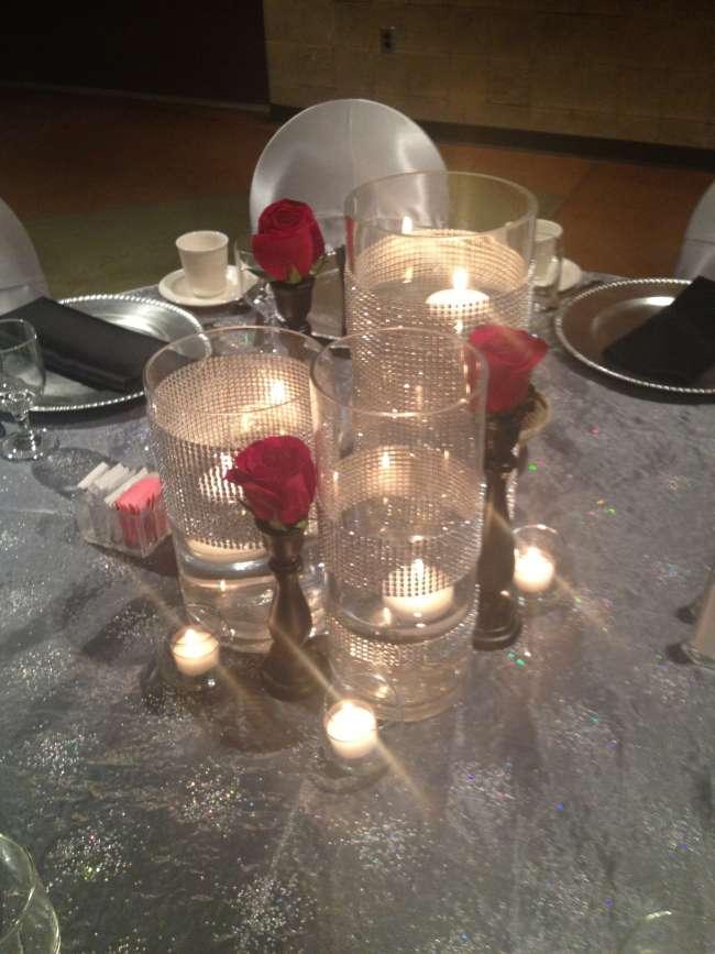 Rose & Rhinestone Vase Centerpieces